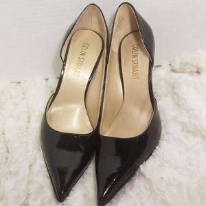 Black Colin Stuart 4in patent leather heels